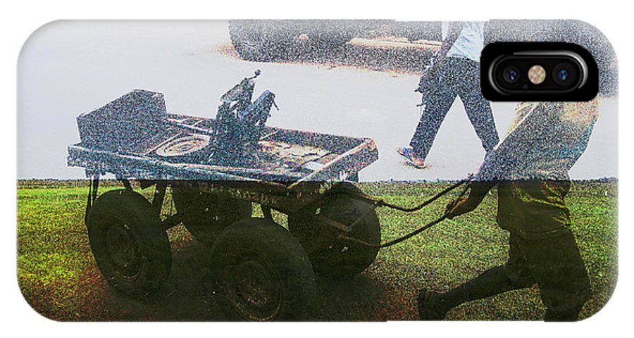 Cart. Harvest IPhone X Case featuring the mixed media Harvest Reap by Robert Sanders