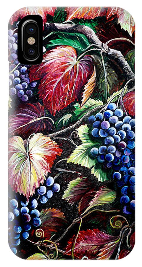 Grapes Painting IPhone X Case featuring the painting Harvest Time by Karin Dawn Kelshall- Best
