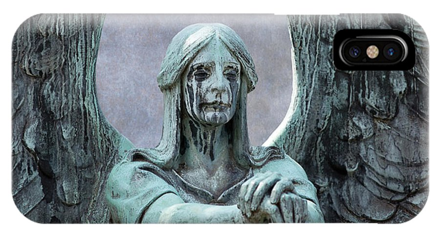 Sculpture IPhone X / XS Case featuring the photograph Haserot Weeping Angel by Dale Kincaid