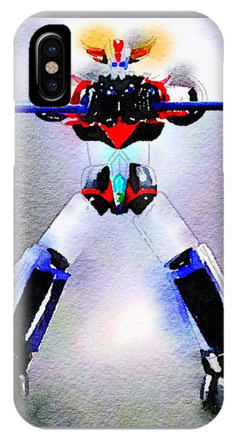 Goldorak IPhone X Case featuring the painting Asterohache by Helge
