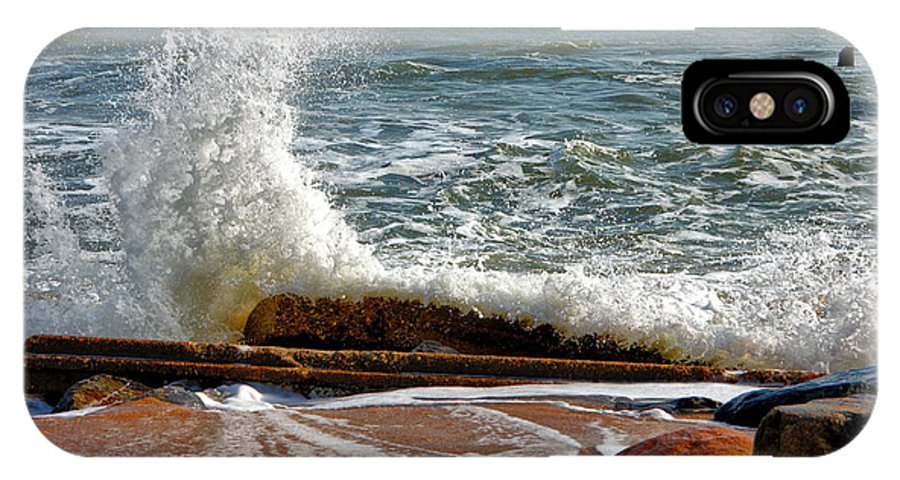 Hatteras IPhone X Case featuring the photograph Hatteras Waves by Mary Almond