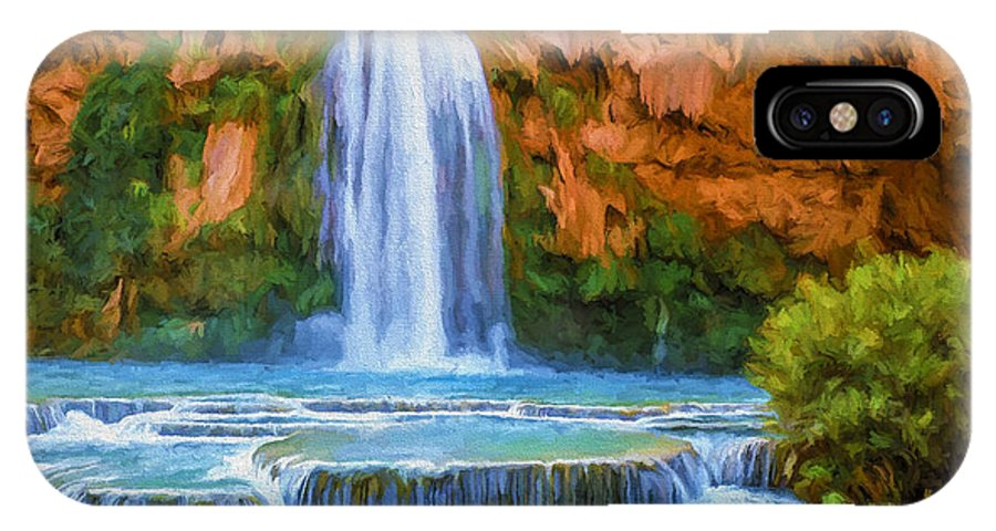Fine Art IPhone Case featuring the painting Havasu Falls by David Wagner