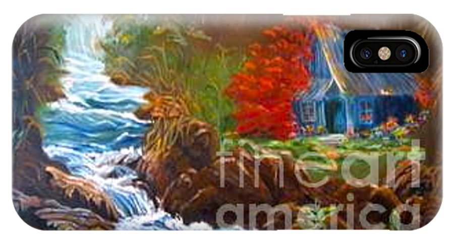 Hawaiian Hut Canvas Print IPhone X Case featuring the painting Hawaiian Hut By Rushing Waters by Jenny Lee