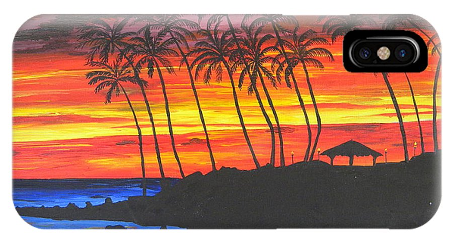 Sunset IPhone X Case featuring the painting Hawaiian Sunset by Eric Johansen