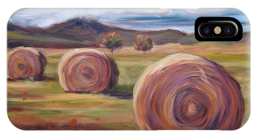 Virginia IPhone X / XS Case featuring the painting Hay Harvest by Donna Tuten