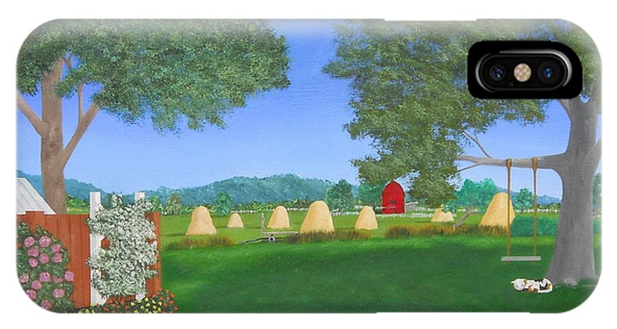 Landscape IPhone X Case featuring the painting Hay Time by Heather Chandler