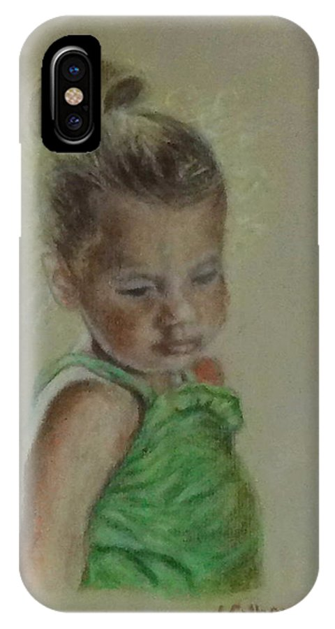 Paintings IPhone X Case featuring the painting Haylie by Jennifer Calhoun