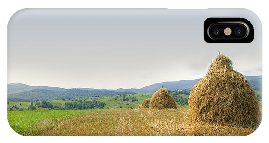 Hayrack IPhone X Case featuring the photograph Hayrack Panorama by Vlad Baciu