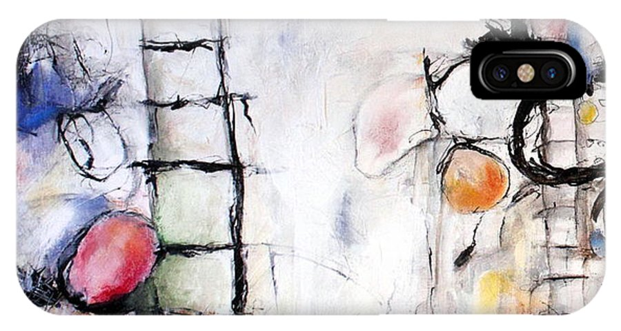 Ladders IPhone X Case featuring the painting He Leaves Butterfly Kisses On His Baby's Soul by Mary C Farrenkopf