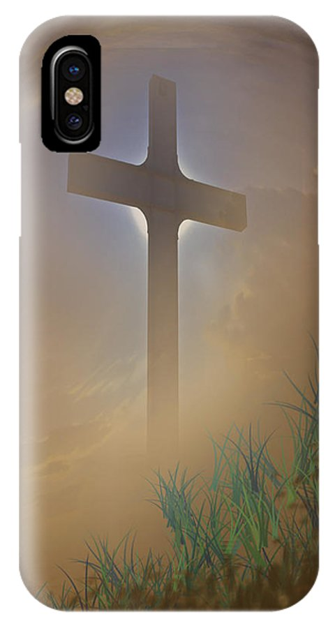Cross IPhone X Case featuring the photograph He Lives by David and Carol Kelly