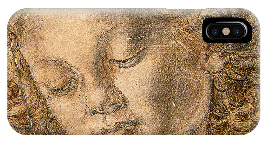 Head Of An Angel IPhone X Case featuring the drawing Head Of An Angel by Andrea del Verrocchio