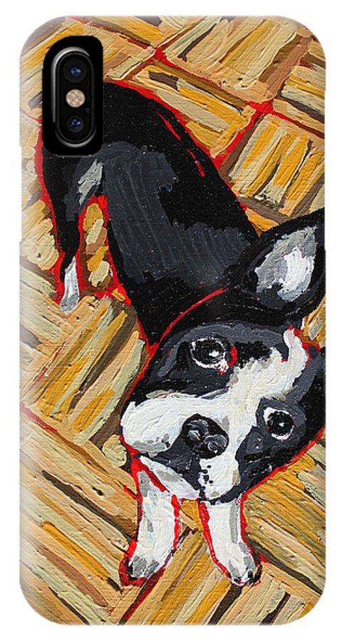 Boston Terrier IPhone X Case featuring the painting Head Tilts by Bridget Brummel