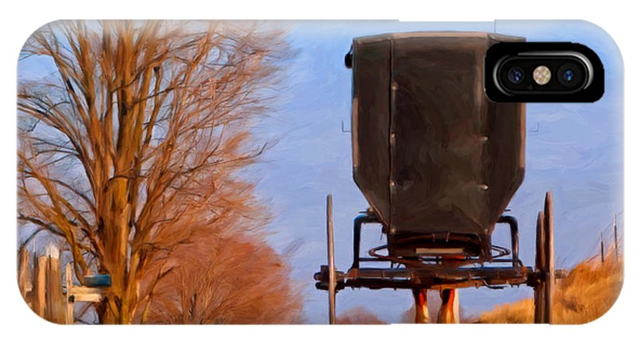 Amish IPhone X Case featuring the painting Headed Home by Michael Pickett