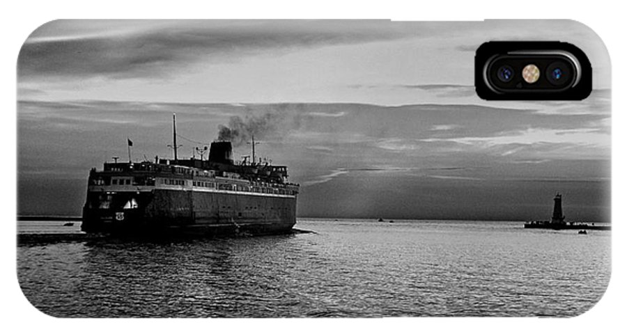 Car Ferry IPhone X Case featuring the photograph Headed West Black And White by Randall Cogle