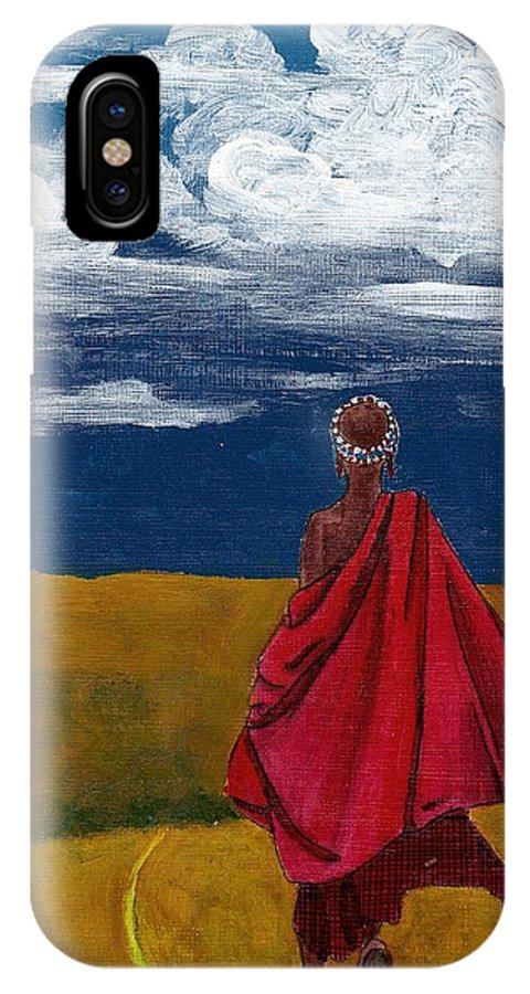 Figurative Painting IPhone X / XS Case featuring the painting Heading Home by Edith Peterson
