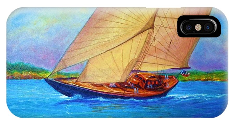 Seascape Water Waterway Bay Ocean Pond Channel Ocean Sea Boat Sail Sailing Out Wake Stream Sky Wind Sun Shine Lights The Way Ripples Dark Blue Peircing Orange Ropes Cleats Listing Canting Sailing Out IPhone X Case featuring the painting Heading Out Keehi Lagoon by Joseph  Ruff