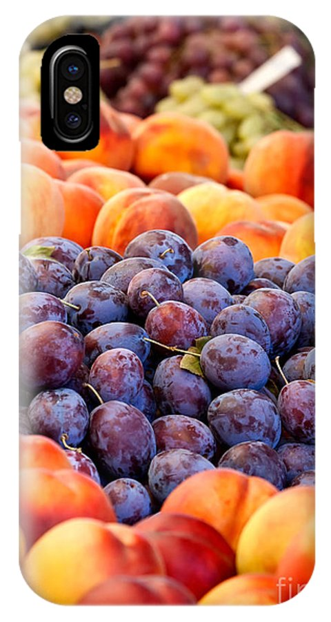 Damson IPhone X Case featuring the photograph Heap Of Fresh Organic Peaches And Damson Plums by Leyla Ismet