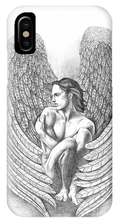 Male Angel IPhone X Case featuring the drawing Heart Angel by Dawn Rosendahl