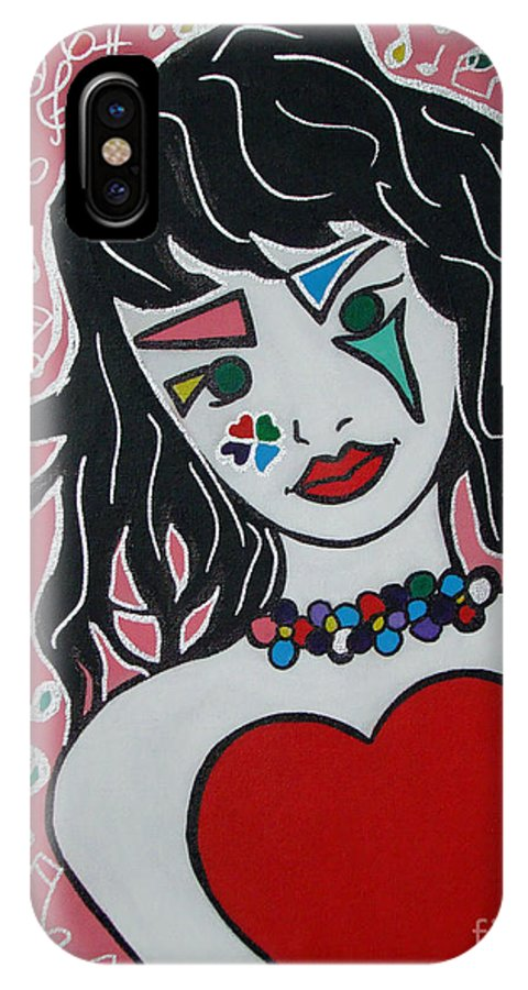 Pop-art IPhone X / XS Case featuring the painting Heart Bit by Silvana Abel