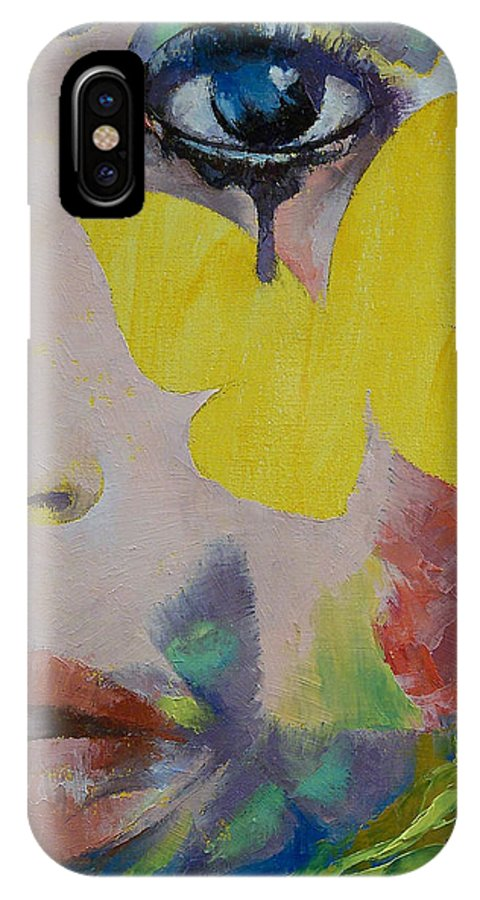 Heart IPhone X Case featuring the painting Heart Obscured By The Moon by Michael Creese