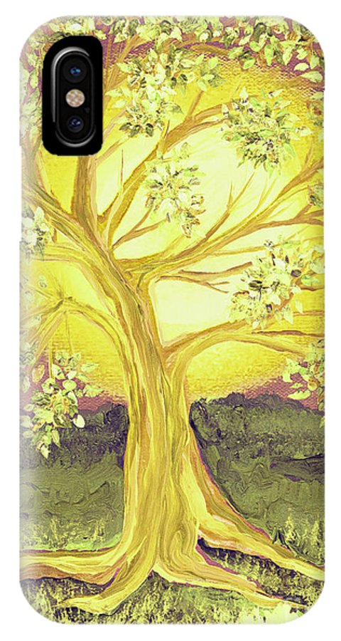 First Star IPhone X Case featuring the painting Heart Of Gold Tree By Jrr by First Star Art