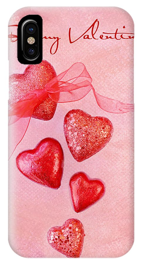 Hearts IPhone X Case featuring the photograph Hearts And Ribbon - Be My Valentine by Rebecca Cozart
