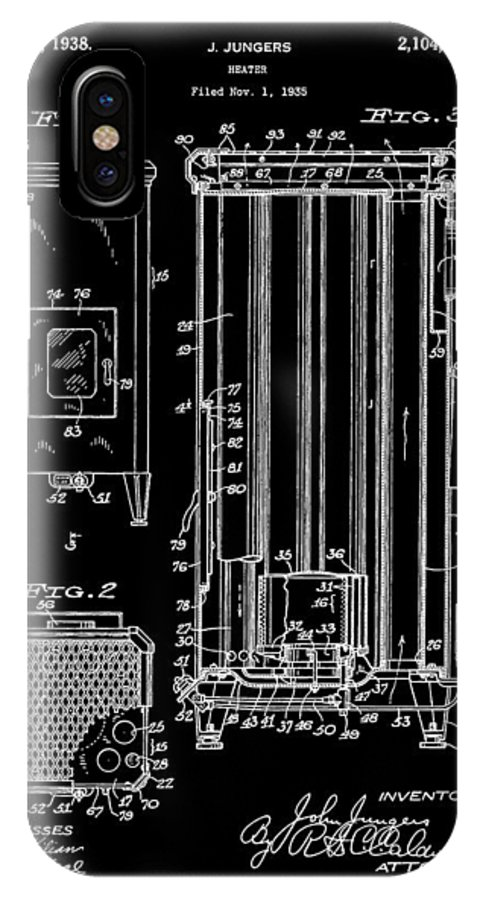 Vintage Heater Patent IPhone X Case featuring the mixed media Heater by Dan Sproul