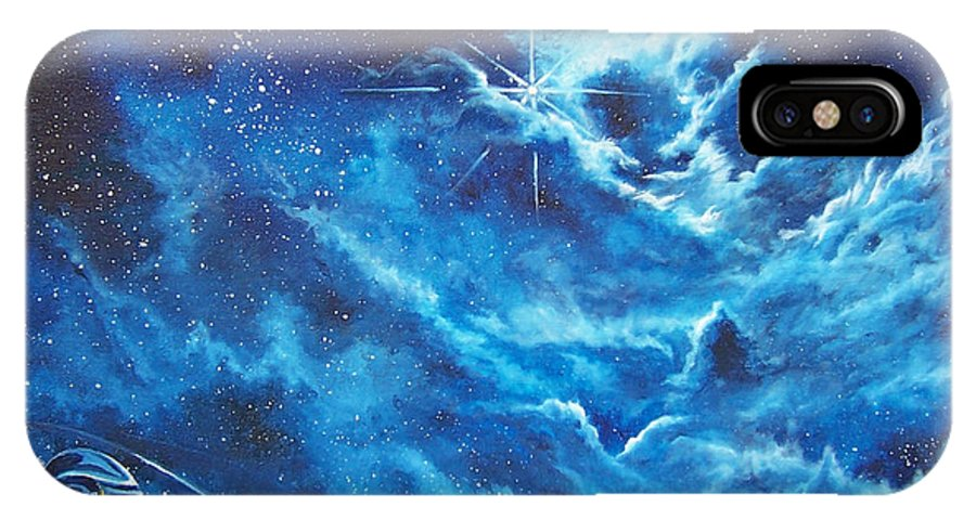 Astro IPhone X Case featuring the painting Heavens Gate by Murphy Elliott