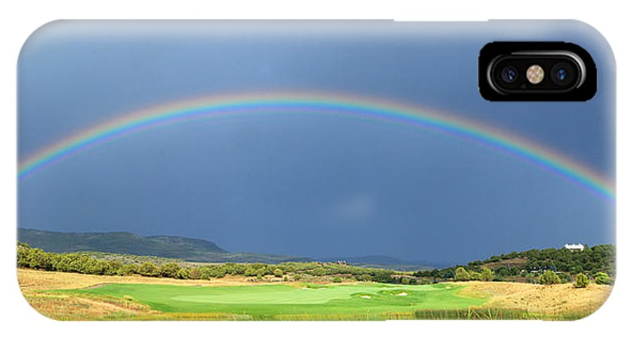 Rainbow IPhone X Case featuring the photograph Heber Valley Rainbow by Johnny Adolphson