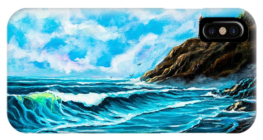 America IPhone X Case featuring the painting Heceta Head Lighthouse Oregon Coast Original Painting Forsale by Bob and Nadine Johnston