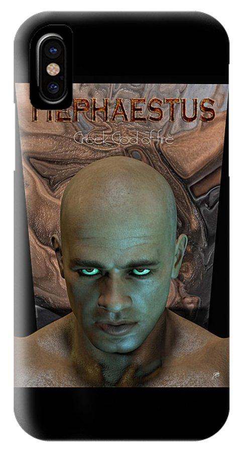 Hephaestus IPhone X Case featuring the digital art Hephaestus Vulcan by Quim Abella