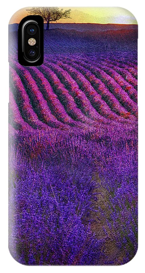 Lavender IPhone X Case featuring the painting Height Of The Bloom Rolling Lavender Fields by R christopher Vest