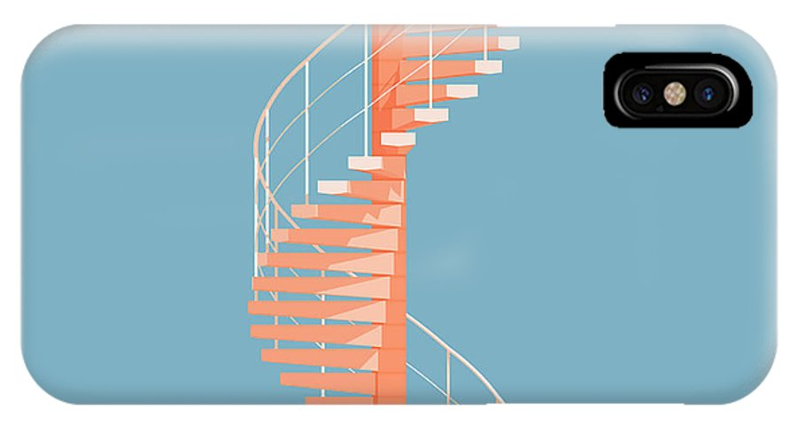 Architecture IPhone X Case featuring the digital art Helical Stairs by Peter Cassidy
