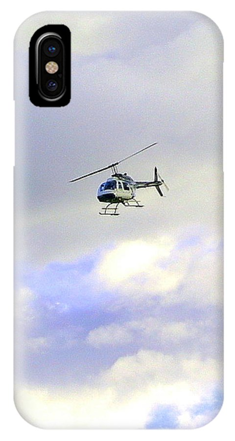 Helicopter IPhone X Case featuring the photograph Helicopter by Mavis Reid Nugent