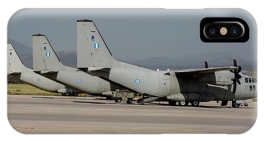 Greece IPhone X Case featuring the photograph Hellenic Air Force C-27j Spartan by Timm Ziegenthaler