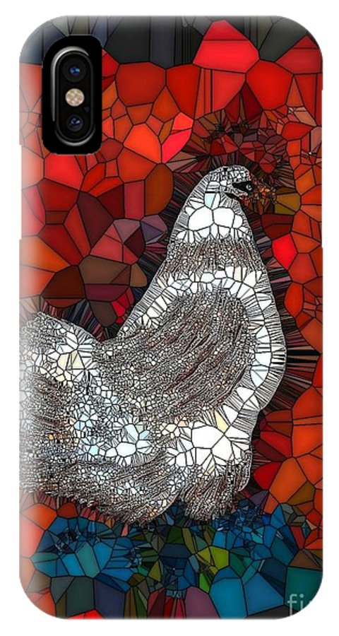 Hen IPhone X Case featuring the painting Hen Watch I by Saundra Myles