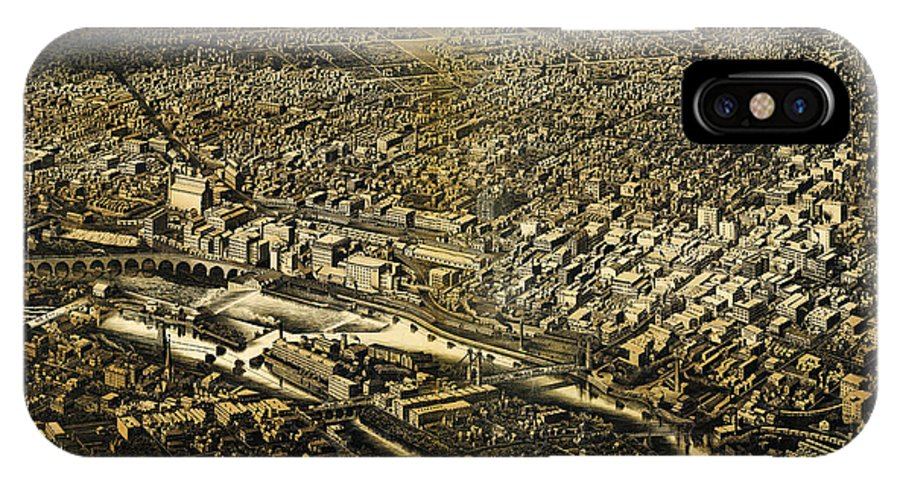 Herancourts Birdseye Of Minneapolis 1885 Art IPhone X Case featuring the painting Herancourts Birdseye Of Minneapolis 1885 by MotionAge Designs
