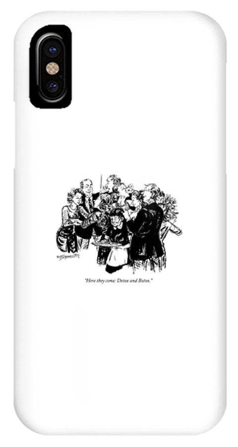 Detox IPhone X Case featuring the drawing Here They Come: Detox And Botox by William Hamilton
