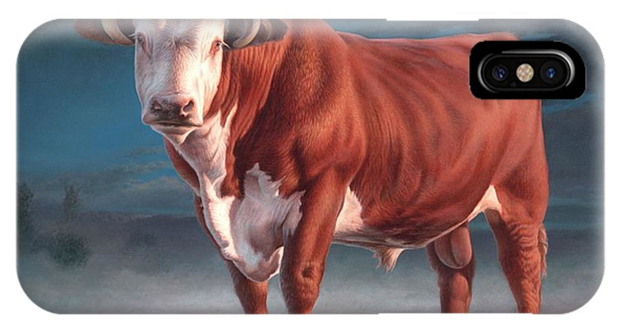 Hereford Bull IPhone X Case featuring the painting Hereford Bull by Hans Droog
