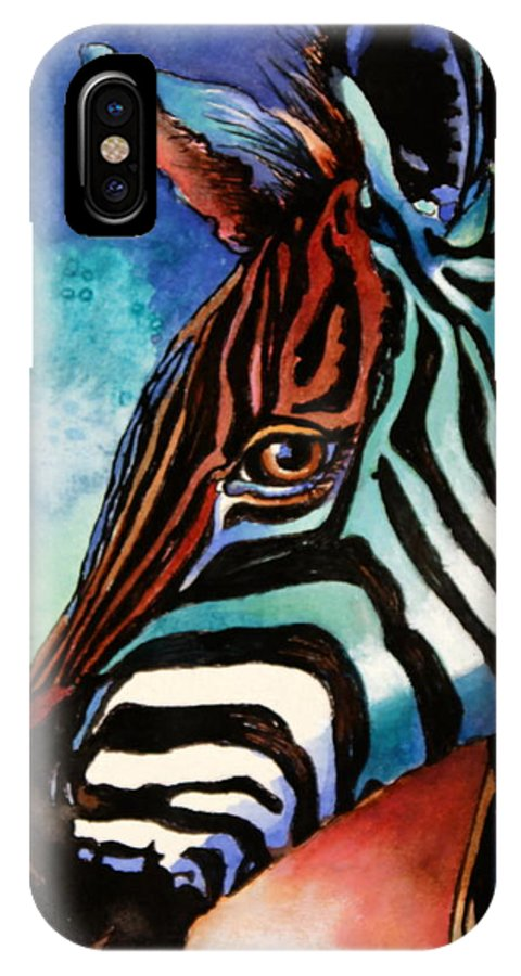 Zebra IPhone X Case featuring the painting Here's Lookin' At Ya by Lynda Dorris