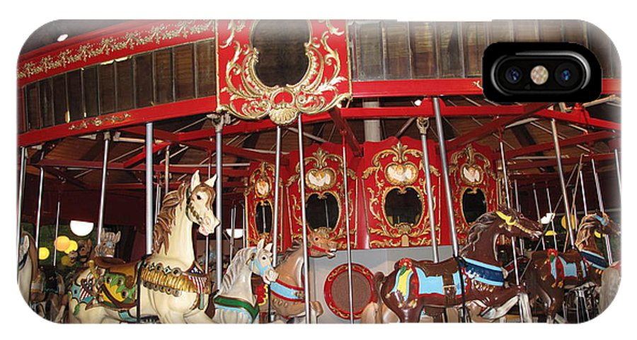 Carousel IPhone X / XS Case featuring the photograph Heritage Looff Carousel by Barbara McDevitt