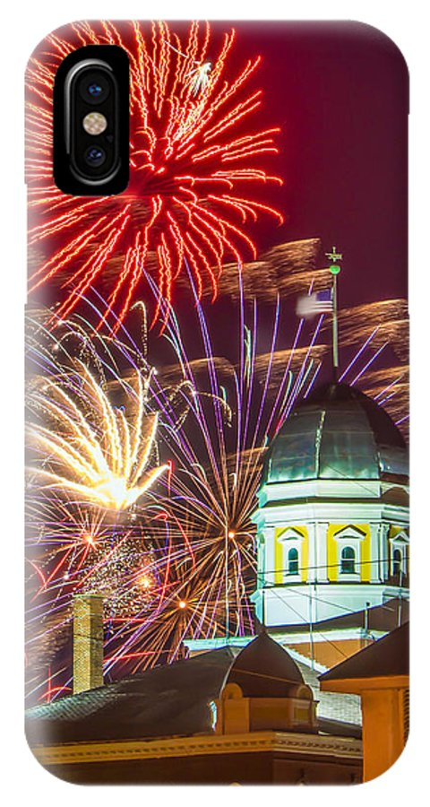 Fireworks IPhone X Case featuring the photograph Hermann Mo Courthouse On July 4th by Tony Carosella