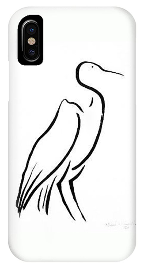 Calligraphy IPhone X Case featuring the drawing Heron by Micah Guenther