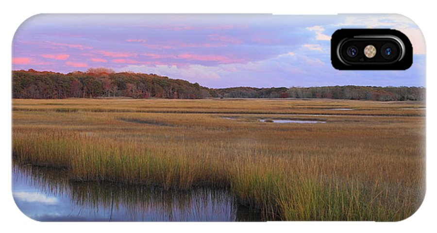Autumn IPhone X Case featuring the photograph Herring River Marsh Cape Cod Autumn Sunset by John Burk
