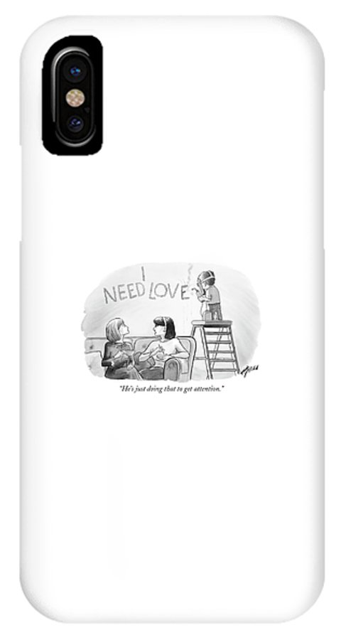 Attention IPhone X Case featuring the drawing He's Just Doing That To Get Attention by Harry Bliss