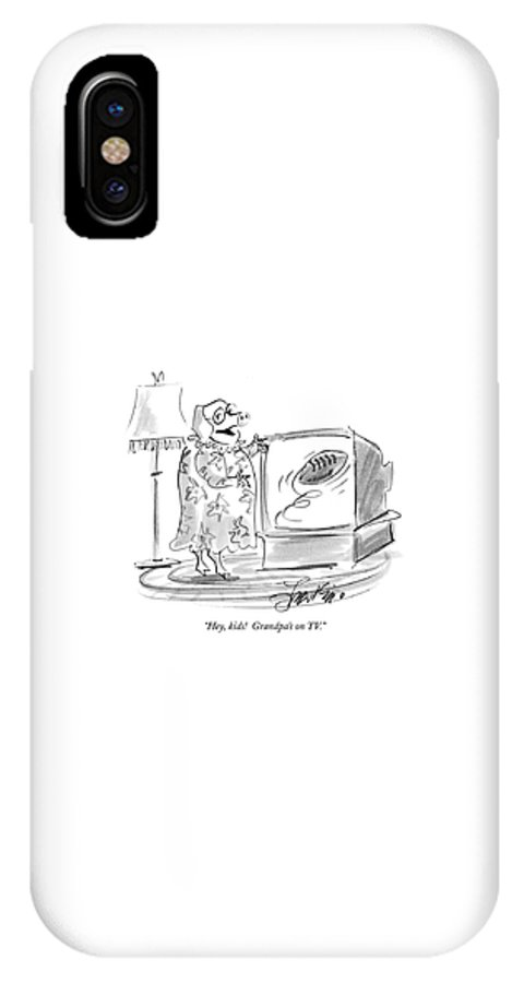 Pigs - General IPhone X Case featuring the drawing Hey, Kids! Grandpa's On Tv by Edward Frascino