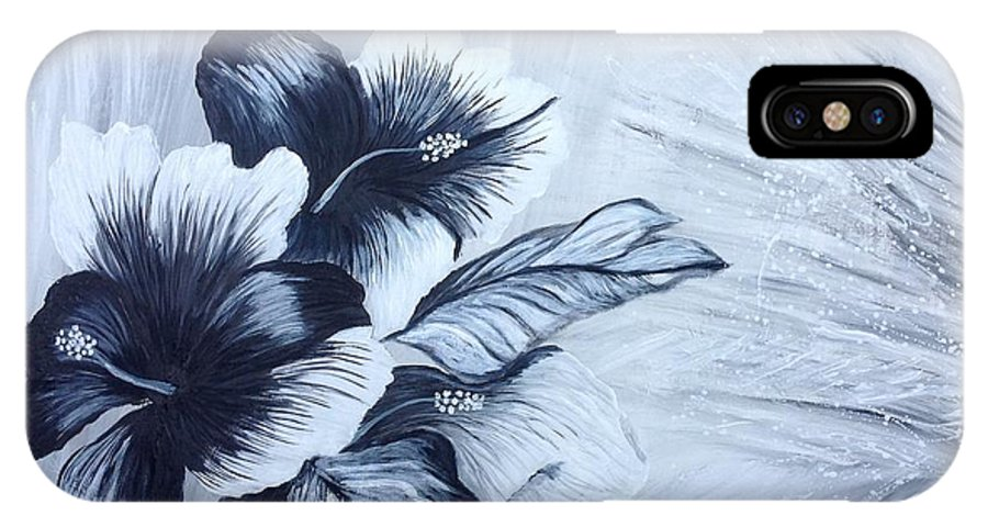 Hibiscus Black And White  IPhone X / XS Case featuring the painting Hibiscus Black And White by Renate Voigt