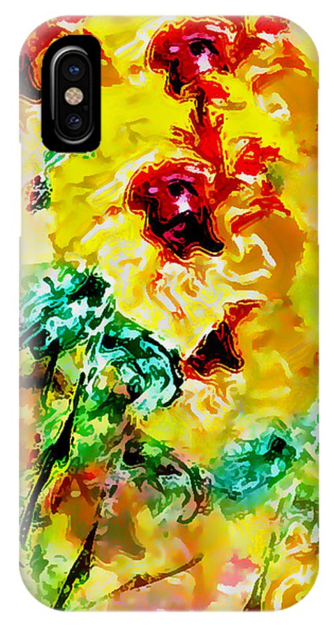Flowers IPhone X Case featuring the digital art Hibiscus Impressionist by William Braddock