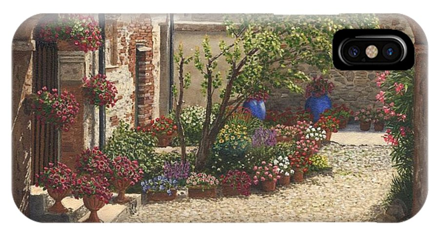 Landscape IPhone X Case featuring the painting Hidden Garden Villa Di Camigliano Tuscany by Richard Harpum