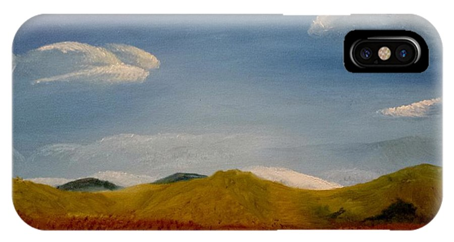 Landscape IPhone X Case featuring the painting Hidden Mountain by Kimberly Ekes